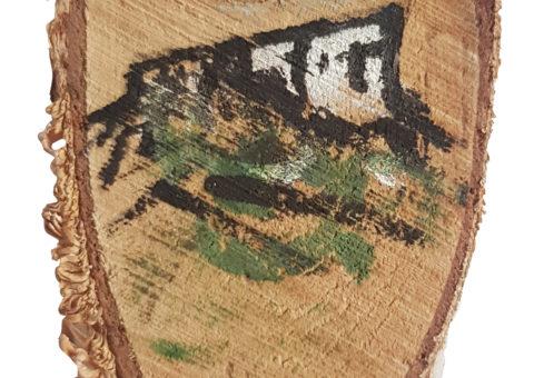 Pietra su betulla 5 - olio su legno 5,5x11 cm
