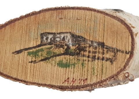 Pietra su betulla 6 - olio su legno 12,5x5,5 cm