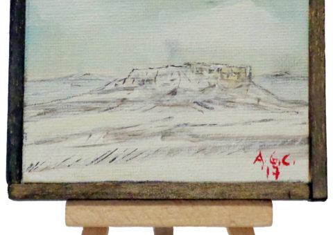 Pietra su cavalletto 1 - olio su tela 10x8 cm