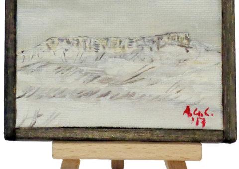 Pietra su cavalletto 3 - olio su tela 10x8 cm