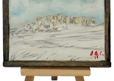 Pietra su cavalletto 4 - olio su tela 10x8 cm
