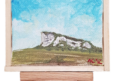 Pietra su cavalletto 6 - olio su tela 9x7 cm
