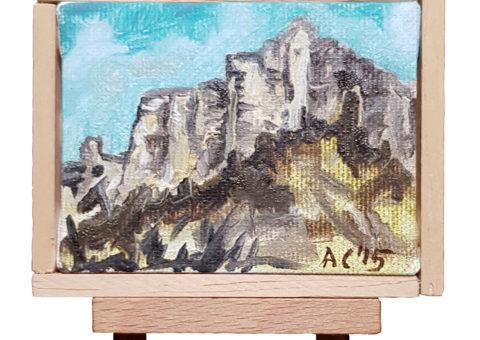 Pietra su cavalletto 7 - olio su tela 9x7 cm