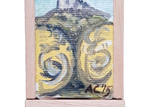 Pietra su cavalletto 8 - olio su tela 5x7 cm