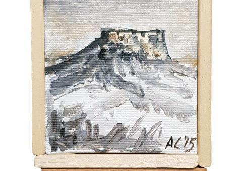 Pietra su cavalletto 9 - olio su tela 7x9 cm